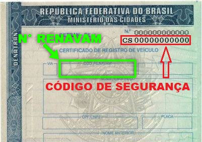 Veja na imagem a localização do código de segurança de seu CRLV